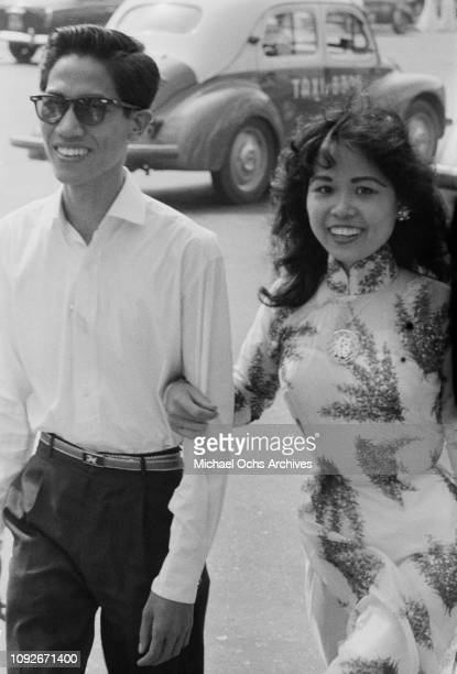 A happy young couple in Saigon in South Vietnam during the Vietnam War March 1962