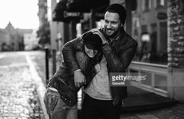 happy young couple - black and white sensual couples stock photos and pictures