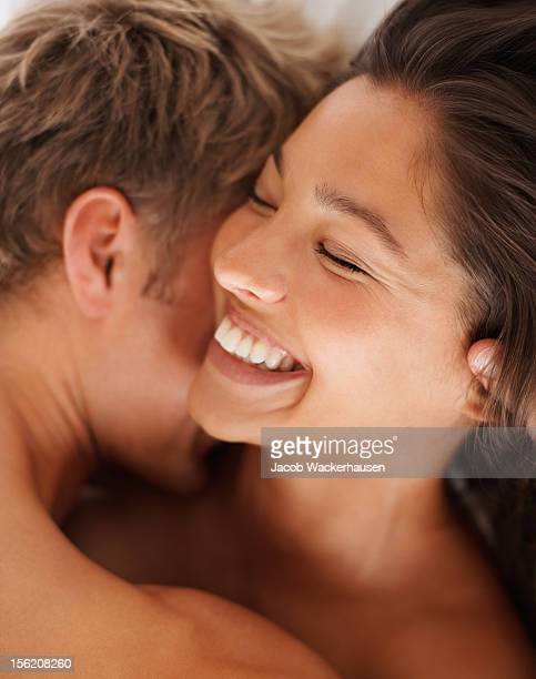 Happy young couple romancing