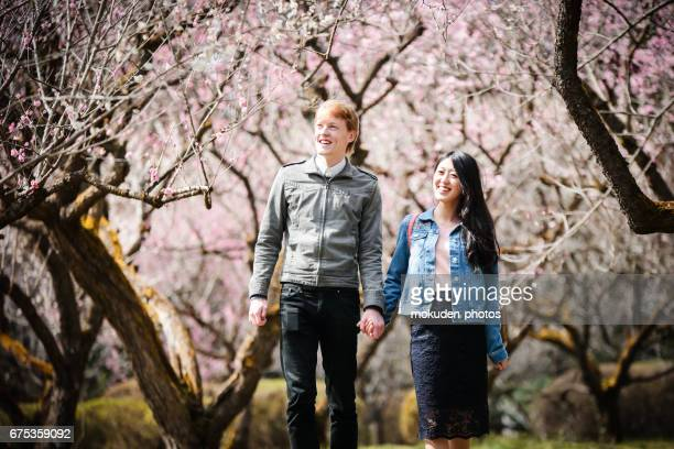 Happy Young couple to enjoy the tourism Kyoto