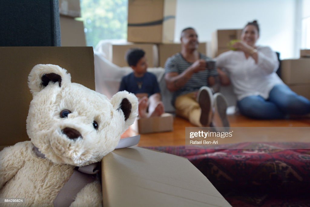 Happy young family cheering in their new home : Foto de stock