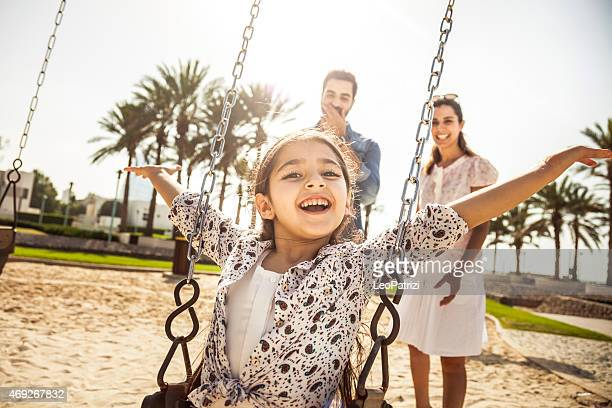 happy young family in dubai, uae - middle east stock pictures, royalty-free photos & images