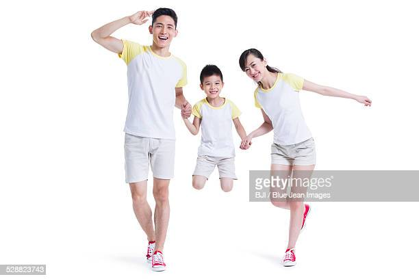 Happy young family playing
