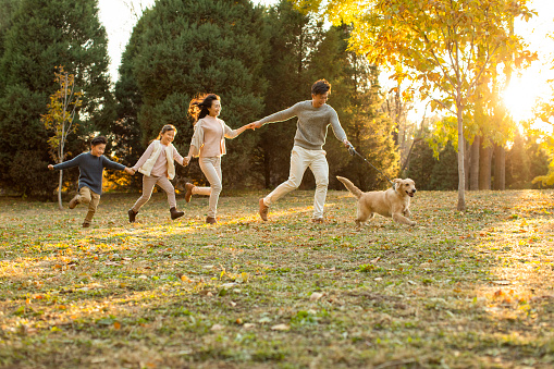 Happy young family with dog in autumn woods - gettyimageskorea