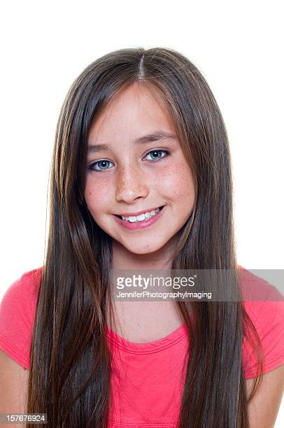 happy young girl - 13 years old girl in jeans stock photos and pictures