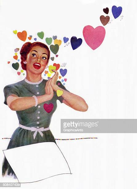 A happy young housewife surrounded by hearts 1940s Screen print