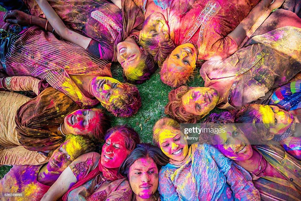 Happy Young Indian People Celebrating Holi Festival : Stock Photo