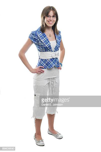 happy young lady - cropped trousers stock pictures, royalty-free photos & images