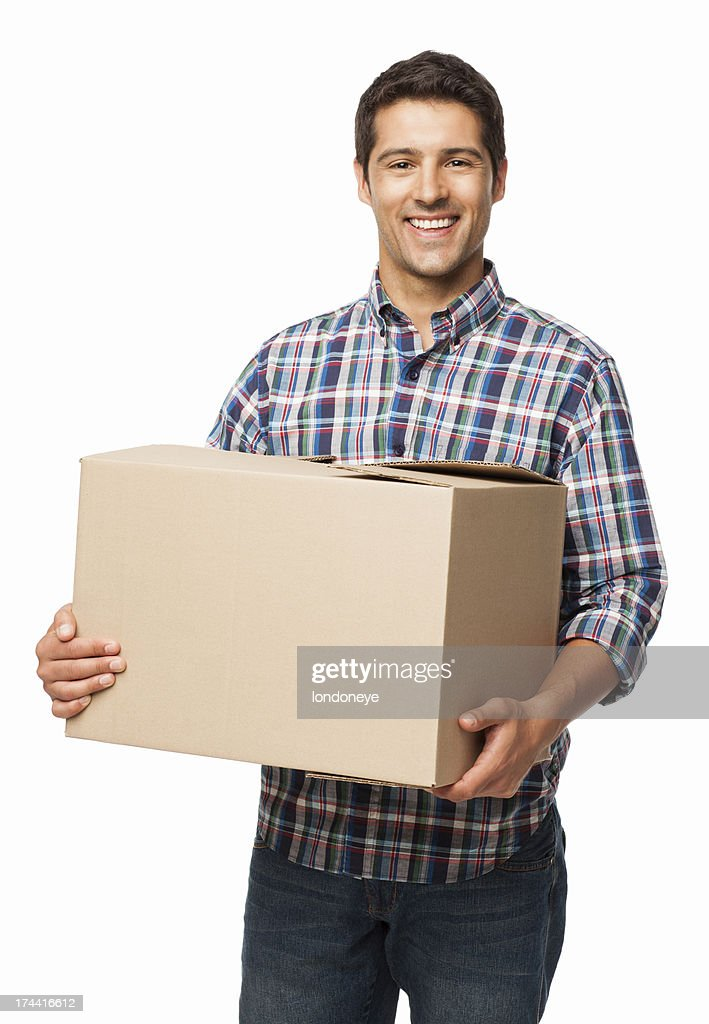 happy young man carrying a cardboard box isolated stock photo getty images. Black Bedroom Furniture Sets. Home Design Ideas