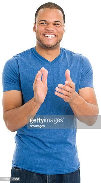 felice giovane uomo battere le mani - mezzo busto foto e immagini stock