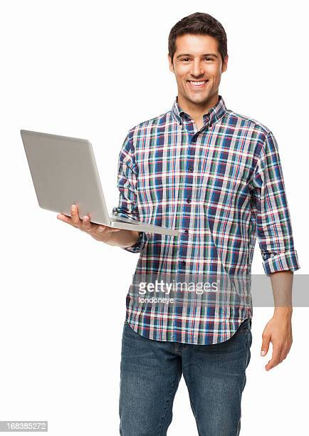 Happy Young Man Holding a Laptop - Isolated