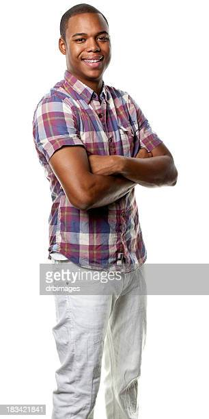 Happy Young Man Posing With Arms Crossed, Three Quarter Length
