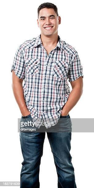 felice giovane uomo ritratto di tre quarti - maniche corte foto e immagini stock