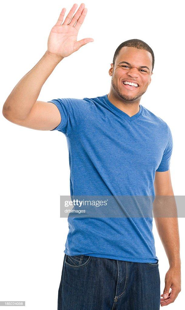 Happy Young Man Waving : Stock Photo