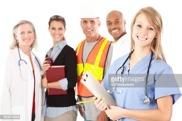 Happy Young Nurse And People From Different Walks of Life