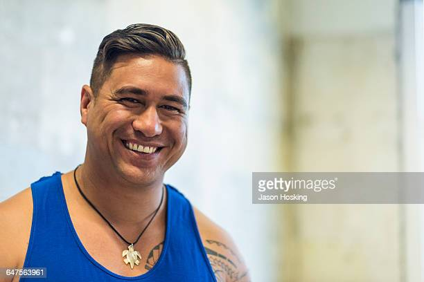 Happy young Polynesian man
