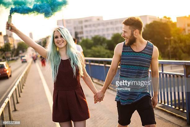 Happy young teenage couple