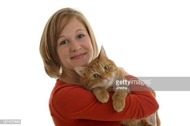 Happy Young Woman and Her Cat