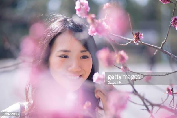 heureuse jeune femme près la recherche sur les fleurs de prunier - flouté photos et images de collection