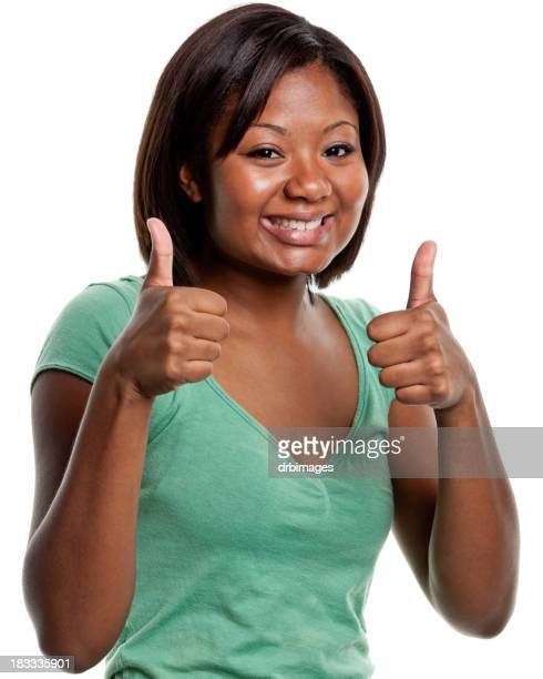 Happy Young Woman Gives Two Thumbs Up