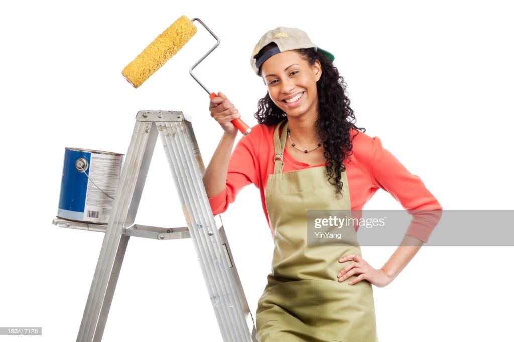 Happy Young Woman Painter Doing House Painting And Home Improvement : Stock  Photo