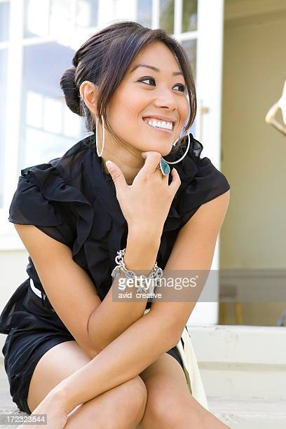 happy young woman - hoop earring stock pictures, royalty-free photos & images