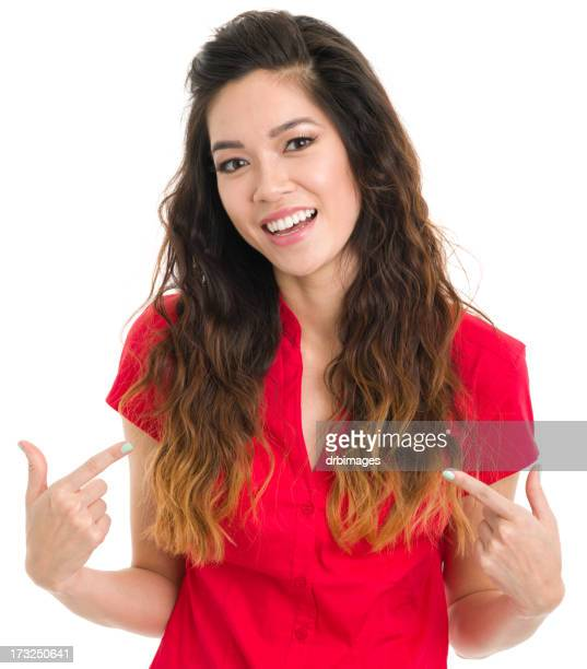 Happy Young Woman Points At Herself