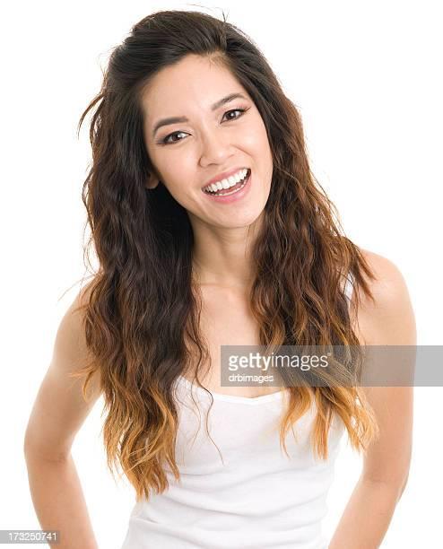 retrato de mujer joven feliz - cami fotografías e imágenes de stock