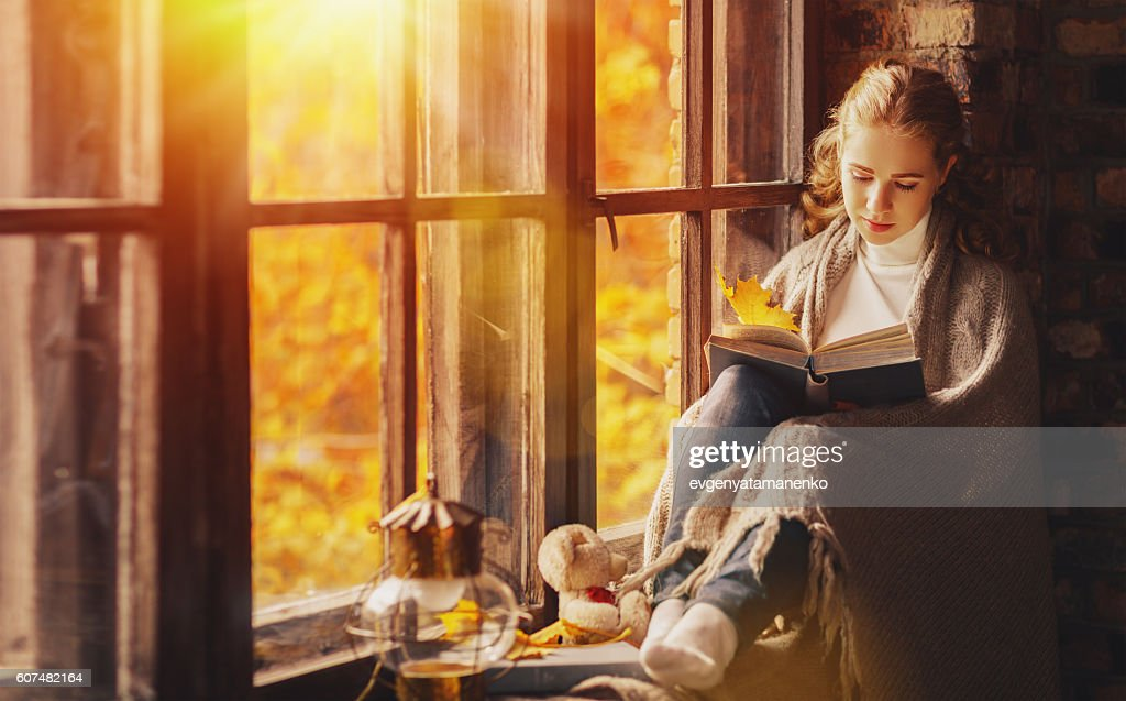 Happy young woman reading book by window in fall : Stock Photo