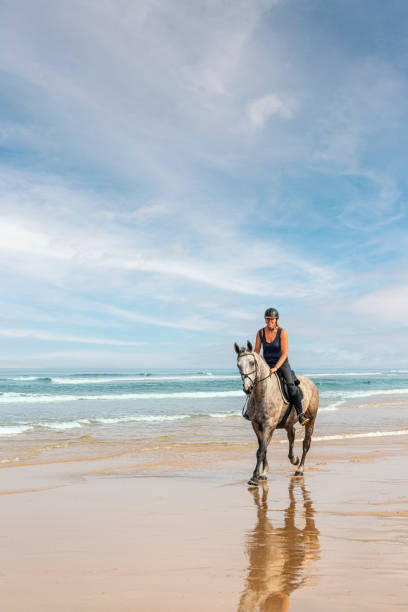 Happy young woman riding horse on the beach. On the Atlantic Ocean in France.