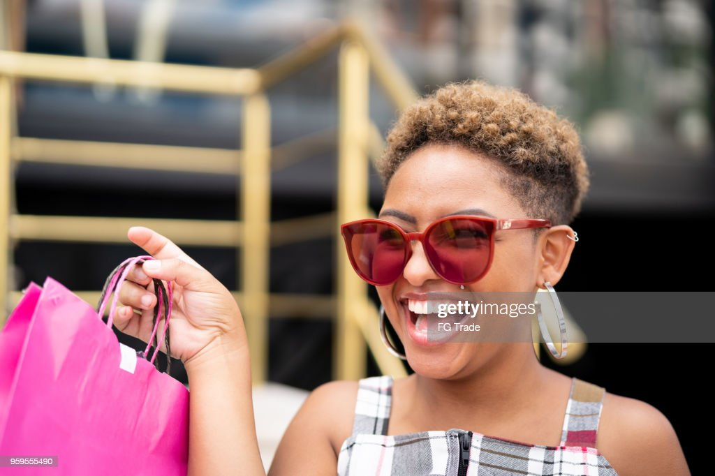 Happy Young Woman Shopping : Stock Photo