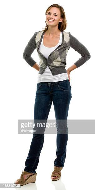 Happy Young Woman Standing Full Length Portrait