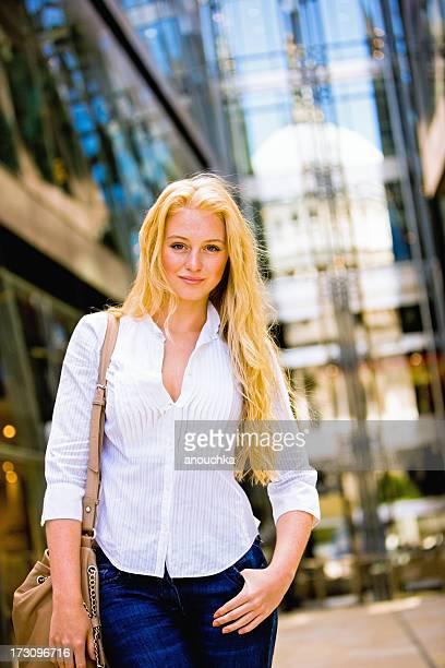Happy Young Woman walking in London