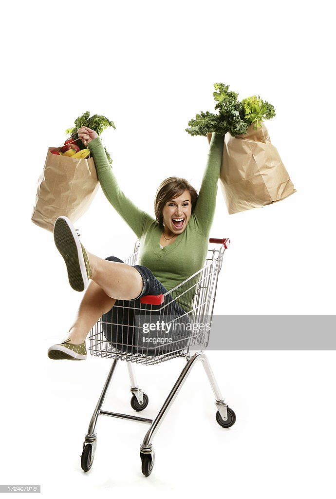 Happy Young woman with her grocery bags : Stock Photo