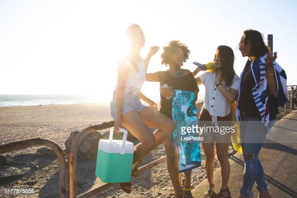 happy young women having fun on the beach - mexican picnic stock pictures, royalty-free photos & images