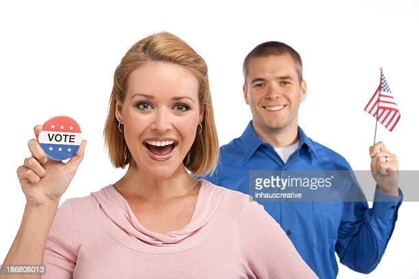 Happy Youthful Couple Campaigning