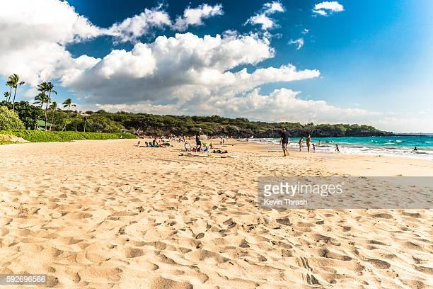 hapuna beach, hawaii - kona coast stock photos and pictures
