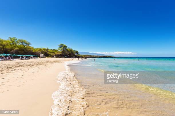 hapuna beach on the big island of hawaii - hapuna beach stock photos and pictures