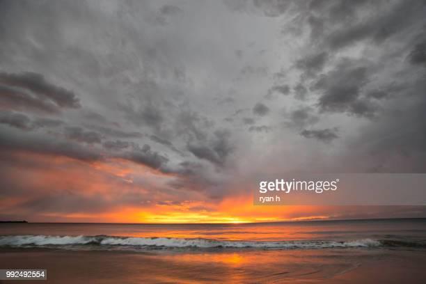 hapuna beach sky fire - hapuna beach stock photos and pictures