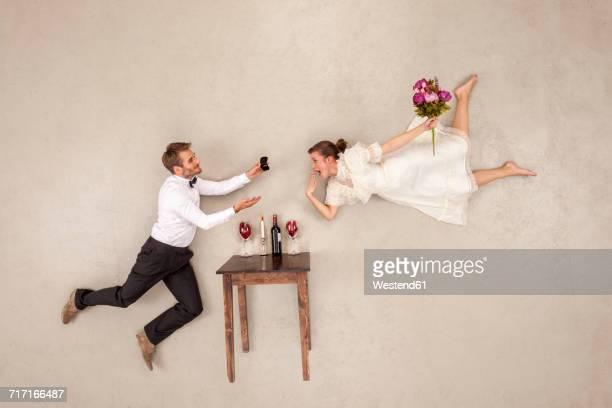 Hapy couple celebrating engagement