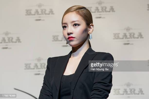 Hara of South Korean girl group Kara attends during Kara's 4th album Full Bloom showcase at the UniqloAX Hall on September 2 2013 in Seoul South Korea