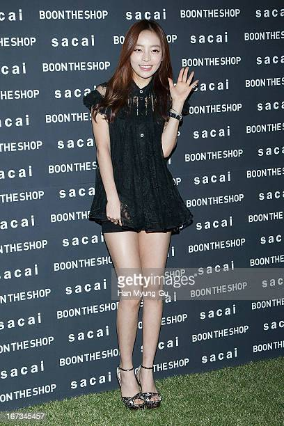Hara of South Korean girl group Kara attends during the Sacai A/W 2013 Fashion Show at Shinsegae Department Store on April 24 2013 in Seoul South...