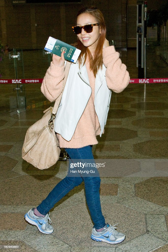 Hara of South Korean girl group Kara is seen on departure to Japan at Gimpo International Airport on March 1, 2013 in Seoul, South Korea.
