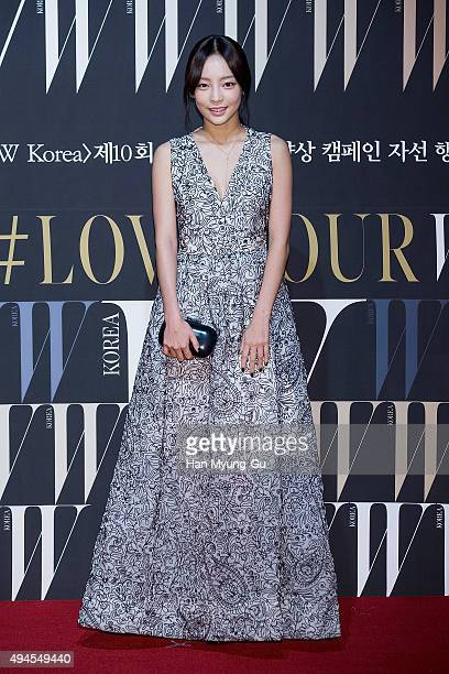 Hara of South Korean girl group KARA poses for photographs at the W Magazine Korea Breast Cancer Awareness Campaign 'Love Your W' photo call on...