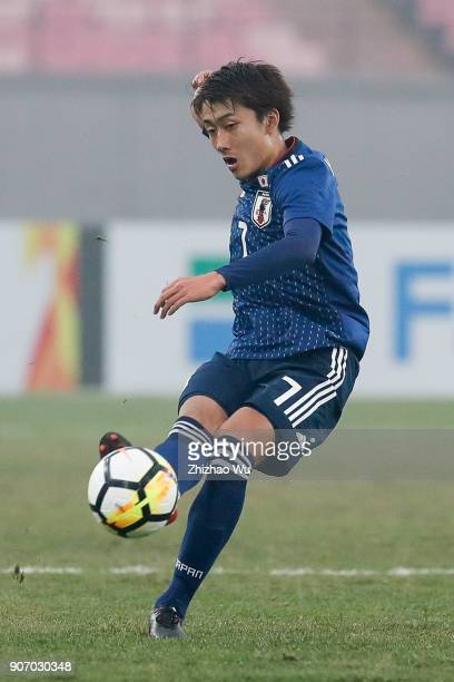 Hara Teruki of Japan pass the ball during AFC U23 Championship Quarterfinal between Japan and Uzbekistan at Jiangyin Sports Center on January 19 2018...