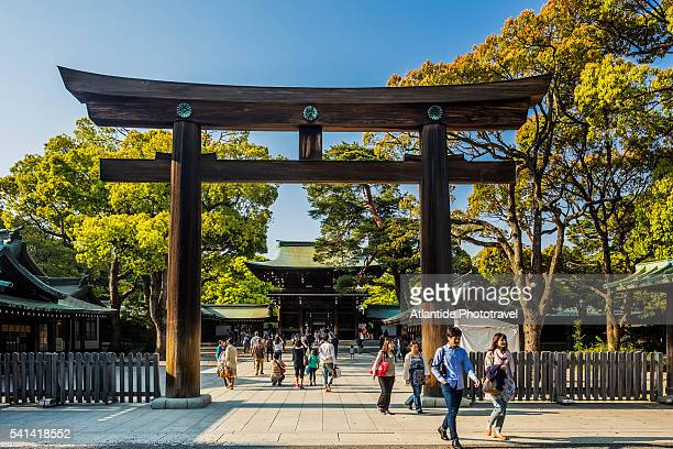 Harajuku, Meiji-jingu (Meiji Shrine), the wodden Torii (gates) and the shrine