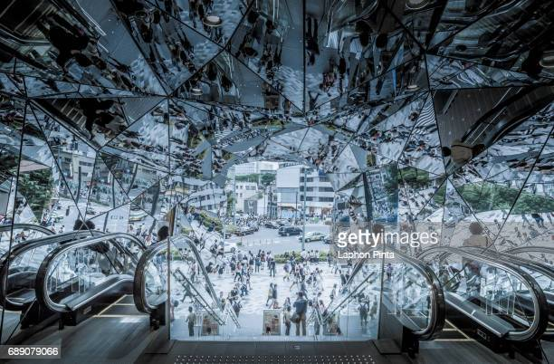 Harajuku shopping district reflected by Shopping mall mirror