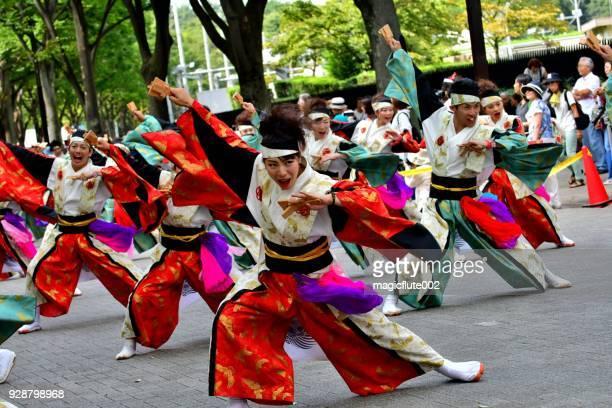 harajuku-omotesando yosakoi festival, tokyo - august stock pictures, royalty-free photos & images