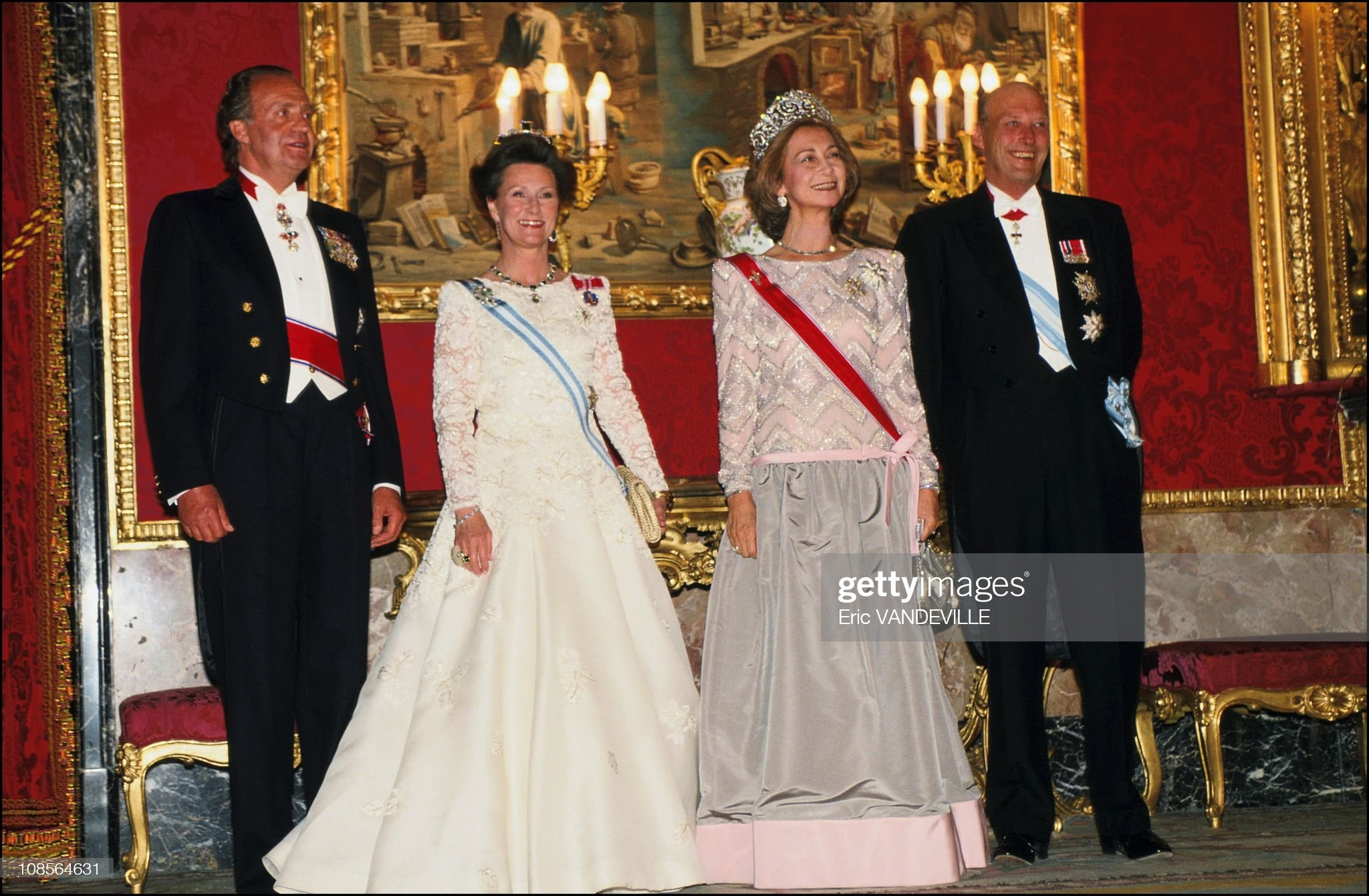 Visit of Harald and Sonia of Norway in Madrid, Spain on April 25th, 1995. : News Photo