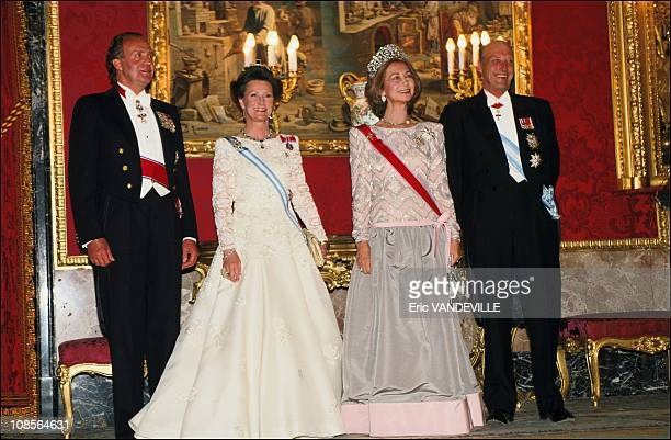 Harald and Sonia of Norway with Juan Carlos and Sofia in Madrid Spain on April 25th 1995